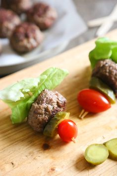 Mini burgers with bacon, layered on a bamboo skewer with lettuce, tomatoes and pickles! Who can resist your favorite foods on a stick – not me! These burger bites make the perfect low-carb appetizer to please everyone from age six to age sixty, just set out some ketchup and mustard for dipping and watch them disappear!  My husband loves bacon burgers, so when I saw these in New York Times Best Selling Cookbook, Danielle Walker's Against All Grain Celebrations I knew I had to make them! Her…