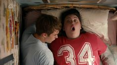 "My Mad Fat Diary, season 2, episode 1, ""Alarm,"" aired 17 February 2014. Finley ""Finn"" Nelson is played by Nico Mirallegro and Rachel ""Rae"" Earl is played by Sharon Rooney. Rae in a voice-over: ""What if he couldn't find my --?"" Rae: ""Ohhh! Holy Lord Jesus Christ!"""