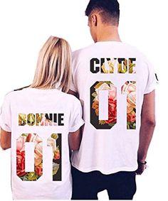 9e2b8a8b6b Clyde+Bonnie 01 Matching round neckT-Shirts, Couple Outfit (White) Cute
