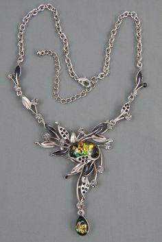 Estate Art Nouveau Revival Faux Opal Cab Rhinestone Flower Lavalier Necklace