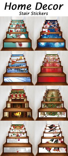 50% OFF Christmas Stair Stickers Cheap Christmas Trees, Christmas Makes, Christmas Stairs, Christmas Time Is Here, Christmas 2017, Christmas Projects, Winter Christmas, Christmas Holidays, Christmas Foods