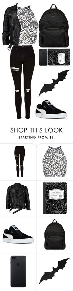 """""""girl in black"""" by christiablack ❤ liked on Polyvore featuring Topshop, Keepsake the Label, VIPARO, Puma and Hogan"""