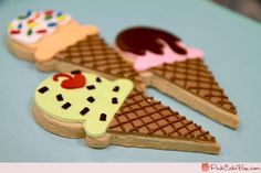 Summer ice cream cookies from Pink Cake Box Cookies For Kids, Cut Out Cookies, Cute Cookies, Sugar Cookies, Pastries Images, Pink Cake Box, Summer Ice Cream, Cookie Flavors, Ice Cream Cookies