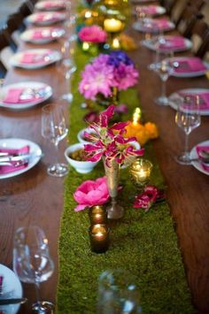 long moss runner with brightly colored flowers and metallic elements