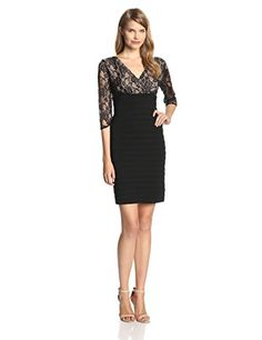 Adrianna Papell Women's 3/4 Sleeve Lace Banded Dress, Black - http://www.womansindex.com/adrianna-papell-womens-34-sleeve-lace-banded-dress-black/