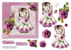 A 6 inch card front with a pretty girl holding a flower and on a lace background with side border embellished with camellia flowers. Decoupage pieces and optional greeting plate for HAPPY BIRTHDAY and BLANK for any other wording/occasion are included.