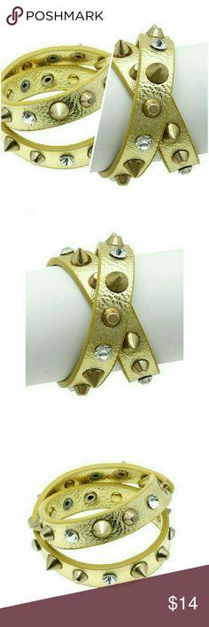 Selling this Gold leather spike stud rhinestone wrap bracelet on Poshmark! My username is: jilld731. #shopmycloset #poshmark #fashion #shopping #style #forsale #Jill Marie Boutique #Jewelry