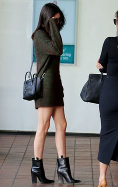 Mini dress, boots, Celine.