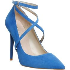 Office Hilton Cross Strap Point Courts Blue Suede ❤ liked on Polyvore featuring shoes, pumps, pointed-toe pumps, blue color shoes, blue suede pumps, suede shoes and blue suede shoes
