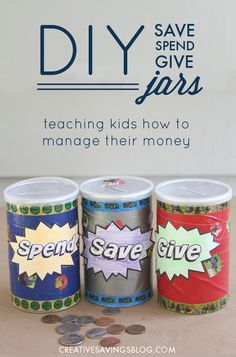 Teach young children how to manage their money with Save Spend Give Jars! This afternoon project takes minimal supplies to get started, and is a fun way to get the whole family on board with budgeting. Kids will love decorating their own up-cycled canisters!