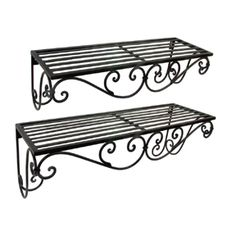 Wrought iron shelves. I'd love to have these in the bathroom. There's so little…