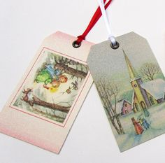 Set of 4 Vintage Glitter Tags by XmasMuse on Etsy, $8.00
