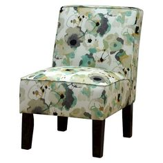 """• Gorgeous floral upholstery<br>• Sturdy hardwood frame<br>• Espresso colored wooden legs<br>• Rich, pure cotton fabric<br>• Supportive, Dacron foam cushions<br>• Spot clean only<br>• Maximum weight capacity: 300 lbs.<br>• Assembly required<br>• Dimensions: 34"""" H x 22"""" W x 31"""" D<br><br>An elegant and comfortable addition to any room, the B..."""