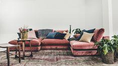 Mammuten sammetssoffa, modul, rosa, sammet, soffa, kuddar, sammetskuddar, möbler, vardagsrum, inredning