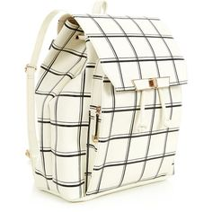 White Grid Print Backpack ($30) ❤ liked on Polyvore featuring bags, backpacks, backpack bags, fake leather backpack, print backpacks, white bag and draw string bag