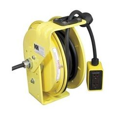 Crescent Enterprises Kh Industries Rtb Series Reeltuff Industrial Grade Retractable Power Cord Reel With Black Cable, 12 3 Sjow Cable Prewired With Four Receptacle Outlet Box, 20 Amp, 50 Length, Yellow Powder Coat Finish Cable, Cord Management, Extension Cord, Wall Mounted Tv, Powder Coating, All In One, Flat Screen, Home Improvement, Industrial