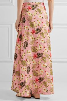 Miguelina - Ballerina Printed Linen Wrap Maxi Skirt - Baby pink - x small