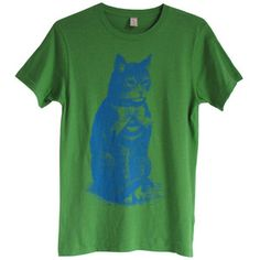 Seated Cat Tee Unisex Green now featured on Fab.