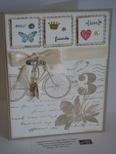 Stampin Up stamp sets: Postage Due, Lovely Little Labels, Nature Walk, Tiny Tags.  Embellishments: pearl, tiny safety pin, cream ribbon and a charm.