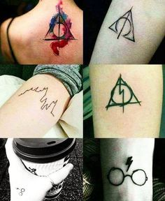Rock your fashion statement with a bold Harry Potter tattoo design. Choose from our amazing collection of Harry Potter tattoos, one that appeals to you the most. Fandom Tattoos, Fake Tattoos, Trendy Tattoos, Body Art Tattoos, Tatoos, Harry Potter Tattoos, Images Harry Potter, Harry Potter Art, Elfen Tattoo