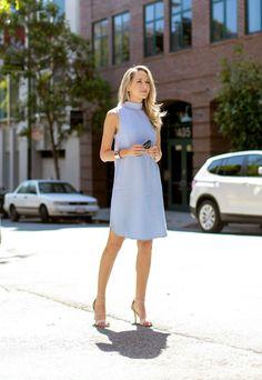 pastel blue dress with classic pumps