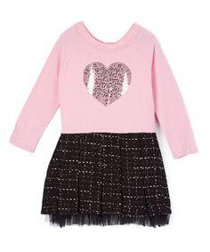 Look at this #zulilyfind! Prism Pink Sequin-Heart A-Line Dress - Girls #zulilyfinds