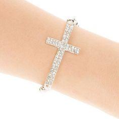 Rhinestone Cross Hollow Beads Charms Bracelet