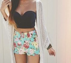 floral shorts floral shorts bustier crop tops knitted cardigan cardigan