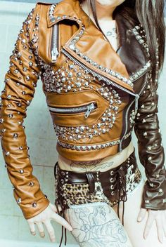 Women Two Tone Brown Orange Cont Genuine Leather Silver Studded Cropped Jacket Size XS TO 100 % Genuine Cowhide Leather to MM Cowhide Leather Used Polyester Inner Lining inside Pocket All Sizes Available Make Sure to Look At Th. Studded Leather Jacket, Vintage Leather Jacket, Biker Leather, Leather Jackets, Colorful Leather Jacket, Real Leather, Vintage Biker, Cow Leather, Cowhide Leather