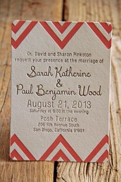 Chevron Letterpress Wedding Invitations - modern - folk - indie - luxe