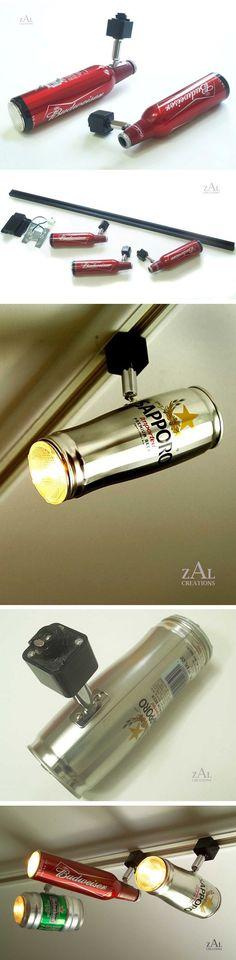 A ZAL Creations desenvolve luminárias diferentes usando objetos do nosso cotidiano como skate, canos, blocos de concreto e lata de cerveja. Uma boa ideia para quem deseja decorar sua casa com as próprias mãos.
