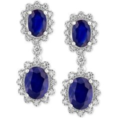 Royale Bleu by Effy Sapphire (3 ct. t.w.) and Diamond (1/3 ct. t.w.)... ($3,500) ❤ liked on Polyvore featuring jewelry, earrings, white gold, drop earrings, 14k white gold earrings, 14k earrings, round earrings and white gold sapphire earrings