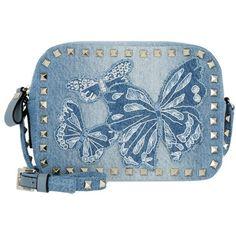 Valentino Shoulder Bag - Rockstud Camera Crossbody Bag Denim Newstyle... (66,600 DOP) ❤ liked on Polyvore featuring bags, handbags, shoulder bags, blue, man bag, crossbody handbags, blue handbags, crossbody purses and valentino crossbody