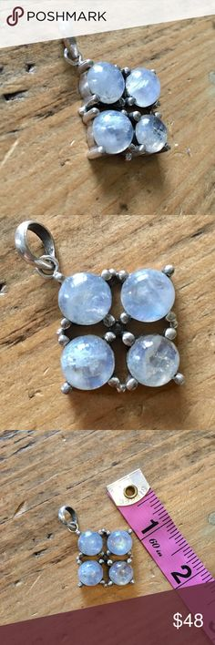Sterling Silver moonstone handcrafted pendant Handcrafted Sterling silver and bezel set moonstones with large jump ring to fit over most necklace clasps. See closet for coordinating pieces. Handcrafted Jewelry Necklaces