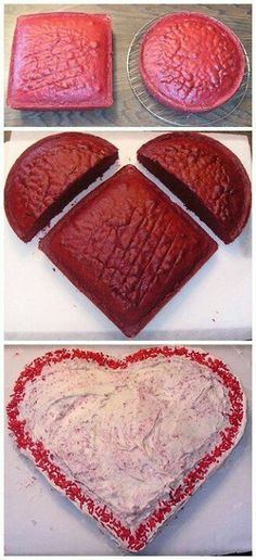 How to make a heart shaped cake. easy to make it. i will try that make red velvet with cream  icing on it for valentine. make this for my boys. :)