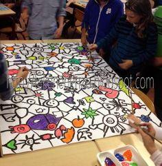 Kids artists: doodling together - group mural collaborative art projects, g Group Art Projects, Collaborative Art Projects, Artists For Kids, Art For Kids, Inspiration Art, Student Drawing, Ecole Art, Mural Art, Art Classroom