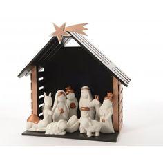 Creche de Noel en porcelaine BLANC/OR sur Izaneo