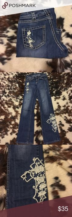 Cowgirl Tuff Jeans! Cowgirl Tuff Jeans, slightly worn. Have a SMALL paint mark on them. Cowgirl Tuff Jeans Boot Cut