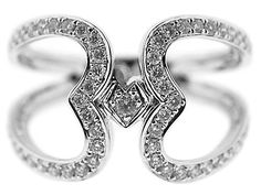 18kt White Gold and Diamond Double Open Heart Ladies Ring Style ID#10572