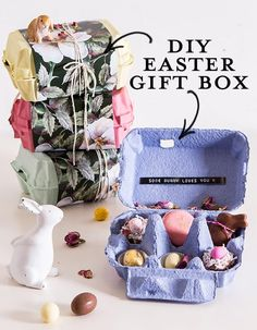 DIY EASTER GIFT BOX According to a Taubmans poll of over 500 Aussie homeowners: of people would be motivated to kick-start their paint project if they Easter Party, Easter Gift, Easter Bunny Decorations, Easter Centerpiece, Easter Decor, Ladybug Crafts, Egg Carton Crafts, Holiday Store, Boyfriend Crafts