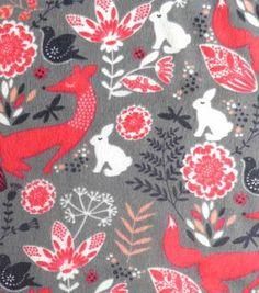 Snuggle Flannel Fabric- Cute Woodland