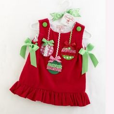 Infant Christmas Dress Red Ornament Corduroy Jumper 0-6 Months only! - Girls Christmas Dresses - Cassie's Closet