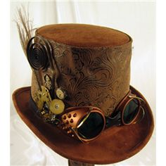 Mens Brown Steampunk Top Hat with Goggles