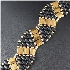 Black and Gold Super Duo and Twin Bracelet by ChainedByLightness, $35.00