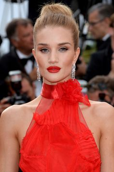 A bright red dress and matching lipstick was picture-perfect for Cannes.