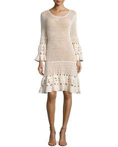 Long-Sleeve Crochet Dress, Vanilla