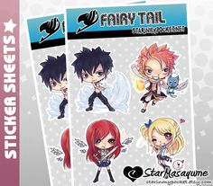 Fairy Tail Stickers Anime Chibi Sticker Sheet of Natsu, Gray, Erza, and Lucy by StarInMyPocket, $5.00