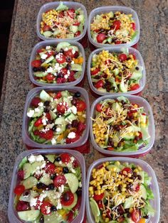 Meal prep for the week:  Fresh salads ready to go! Greek salads and Mexican Santa Fe Salads.
