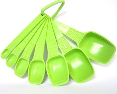 Vintage Tupperware Measuring Spoons Set, Acid Green 1970s Kitchen Accessory, Complete Set of 7 via Etsy