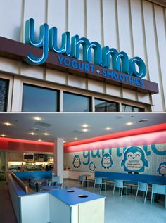 Exterior signage, open can letters with neon | Yummo Yogurt + Smoothies